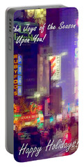 The Joys Of The Season - Happy Holidays - Times Square - Holiday And Christmas Card Portable Battery Charger