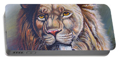 Portable Battery Charger featuring the painting The King by Anthony Mwangi