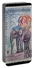Portable Battery Charger featuring the photograph The King's Elephant Vintage Postage Stamp Print by Andy Prendy