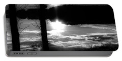 The Lake - Black And White Portable Battery Charger
