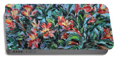 Portable Battery Charger featuring the painting The Late Bloomers by Xueling Zou