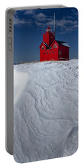 The Lighthouse Big Red During Winter In Holland Michigan Portable Battery Charger by Randall Nyhof