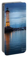 The Lighthouse Of Lindau By Night Portable Battery Charger