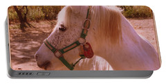 Portable Battery Charger featuring the photograph The Little White Pony by Dora Sofia Caputo Photographic Art and Design