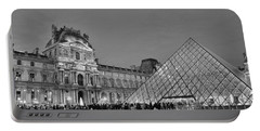 The Louvre Black And White Portable Battery Charger by Allen Beatty