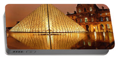 The Louvre By Night Portable Battery Charger by Ayse Deniz