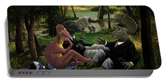 Portable Battery Charger featuring the painting The Luncheon On The Grass With Dinosaurs by Martin Davey