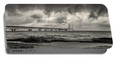 The Mackinac Bridge B W Portable Battery Charger