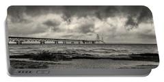 The Mackinac Bridge B W Portable Battery Charger