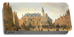 The Market Place With The Raadhuis, Haarlem, 17th Century Portable Battery Charger