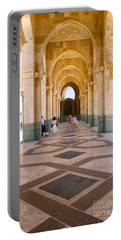 Portable Battery Charger featuring the photograph The Massive Colonnades At The Hassan II Mosque Sour Jdid Casablanca Morocco by Ralph A  Ledergerber-Photography