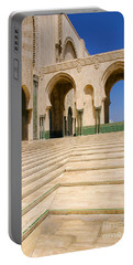 Portable Battery Charger featuring the photograph The Massive Colonnades Leading To The Hassan II Mosque Sour Jdid Casablanca Morocco by Ralph A  Ledergerber-Photography
