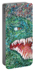 The Might That Came Upon The Earth To Bless - Godzilla Portrait Portable Battery Charger by Fabrizio Cassetta