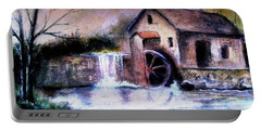 Portable Battery Charger featuring the painting The Millstream by Hazel Holland