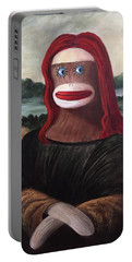 Portable Battery Charger featuring the painting The Monkey Lisa by Randol Burns