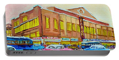 Portable Battery Charger featuring the painting The Montreal Forum by Carole Spandau
