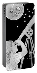 Portable Battery Charger featuring the digital art The Moon Looks Back by Carol Jacobs
