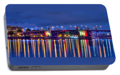 Portable Battery Charger featuring the photograph Morrison Bridge Reflections by Thom Zehrfeld