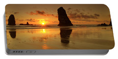 The Needles At Haystack - Cannon Beach Sunset  Portable Battery Charger