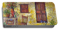 Portable Battery Charger featuring the painting The Old Chair by Lou Ann Bagnall