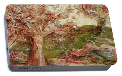 Portable Battery Charger featuring the painting The Old Fence Line by Mary Wolf