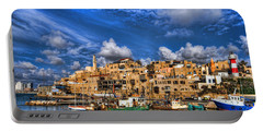 the old Jaffa port Portable Battery Charger by Ron Shoshani
