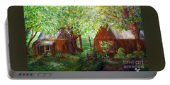 Portable Battery Charger featuring the painting The Old Swing Between The House And The Barn by Eloise Schneider