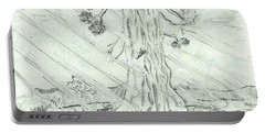 Portable Battery Charger featuring the drawing The Old Tree In Spring Light  - Sketch by Felicia Tica