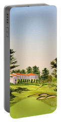 Portable Battery Charger featuring the painting The Olympic Golf Club - 18th Hole by Bill Holkham
