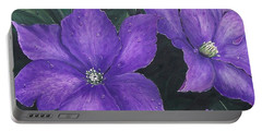 Portable Battery Charger featuring the painting The President Clematis by Sharon Duguay
