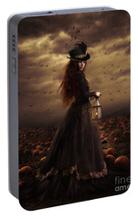Portable Battery Charger featuring the digital art The Pumpkin Patch by Shanina Conway