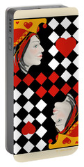 Portable Battery Charger featuring the painting The Queen On Her Card by Carol Jacobs