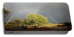 The Rain And The Rainbow Portable Battery Charger by Lucinda Walter