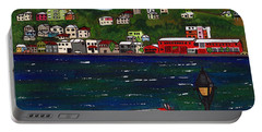 The Red And White Fishing Boat Carenage Grenada Portable Battery Charger by Laura Forde