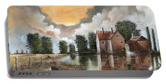 Portable Battery Charger featuring the painting The River Gripping by Ken Wood
