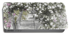 Portable Battery Charger featuring the photograph The Rose Arbor by Elaine Teague