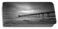 The Scripps Pier - Black And White Portable Battery Charger