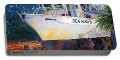 Portable Battery Charger featuring the painting The Sea Hawk In Drydock by Roger Rockefeller