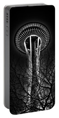 The Seattle Space Needle At Night Portable Battery Charger by David Patterson