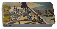 Portable Battery Charger featuring the painting The Sidewalk Religion by Thu Nguyen