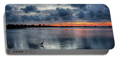 Portable Battery Charger featuring the photograph The Solitary Fisherman - Florida Sunset by HH Photography of Florida