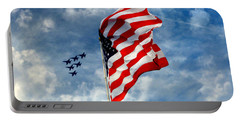 The Star Spangled Banner Yet Waves Portable Battery Charger by Lydia Holly