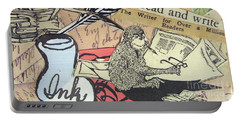 Portable Battery Charger featuring the drawing The Studious Rabbit And The Monkey by Eloise Schneider