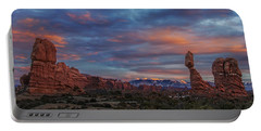 Portable Battery Charger featuring the photograph The Sun Sets At Balanced Rock by Roman Kurywczak