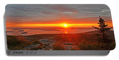 The Sunrise From Cadillac Mountain In Acadia National Park Portable Battery Charger