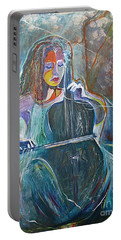 Portable Battery Charger featuring the painting The Swan Of Saint-sanz by Diana Bursztein
