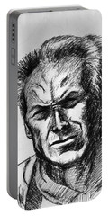 Portable Battery Charger featuring the painting Clint Eastwood by Salman Ravish