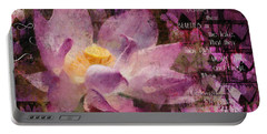 Portable Battery Charger featuring the digital art Those Virgin Lilies - Moore Quote  by Nola Lee Kelsey
