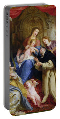 The Virgin Offering The Rosary To St. Dominic Portable Battery Charger