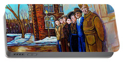 The War Years 1942 Montreal St Mathieu And De Maisonneuve Street Scene Canadian Art Carole Spandau Portable Battery Charger